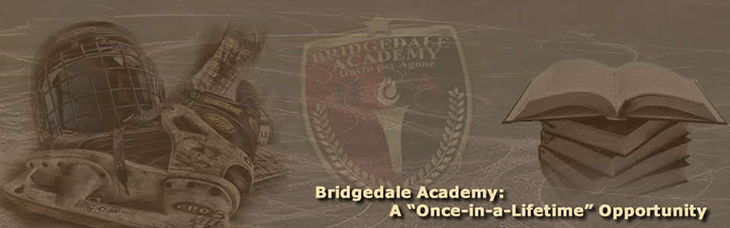 Bridgedale Academy logo, books, hockey gear on ice